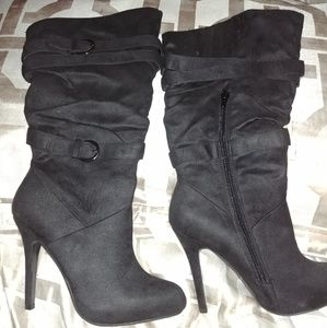 Black Calf Length New Suede Boots Size 7.5